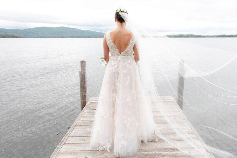 Bride looking out at Squam Lake, NH