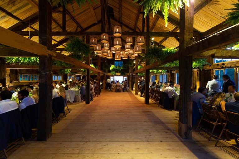 Interior wedding barn in the evening with guests