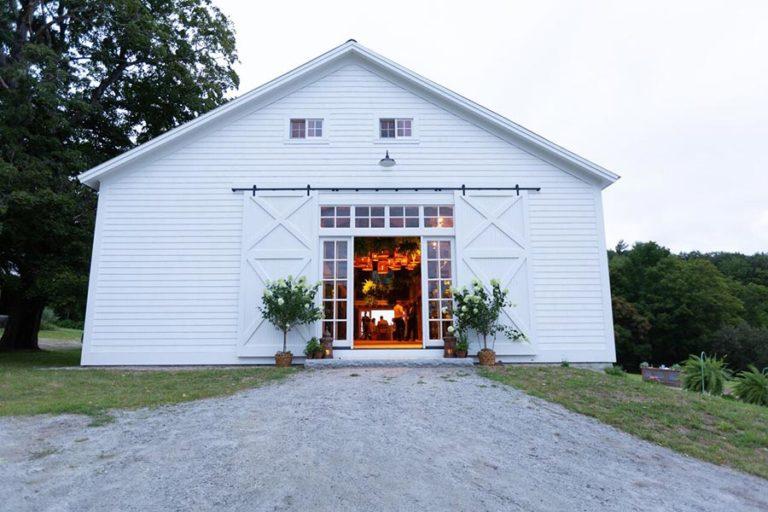 NH Wedding barn in the evening, big white barn