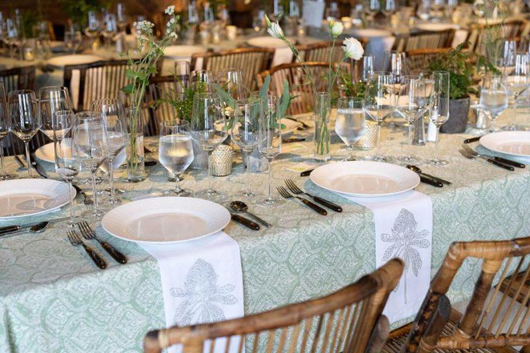 Wedding barn table setting
